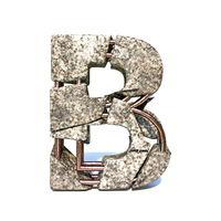 Concrete fracture font Letter B 3D