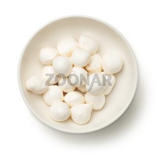 Mozzarella in Bowl Isolated on White Background