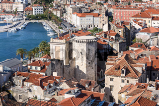 Aerial view of Split from St. Domnius Bell Tower