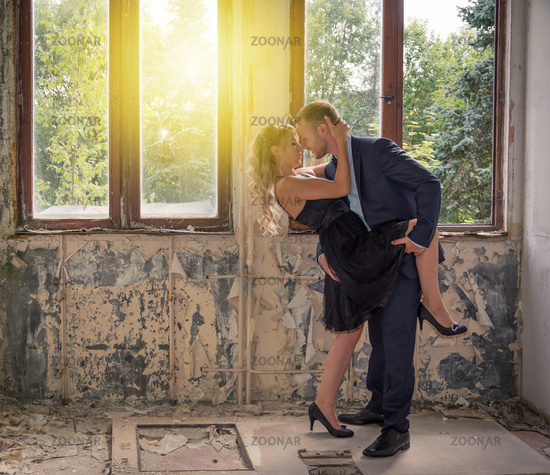 Couple kissing each other while dancing tango