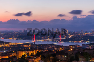 The 15 July Martyrs Bridge or the Bosphorus bridge in Istanbul, Turkey, night view