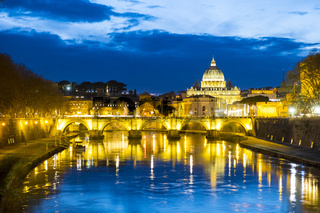 River View Bridge St. Peter's Basilica Rome Dusk