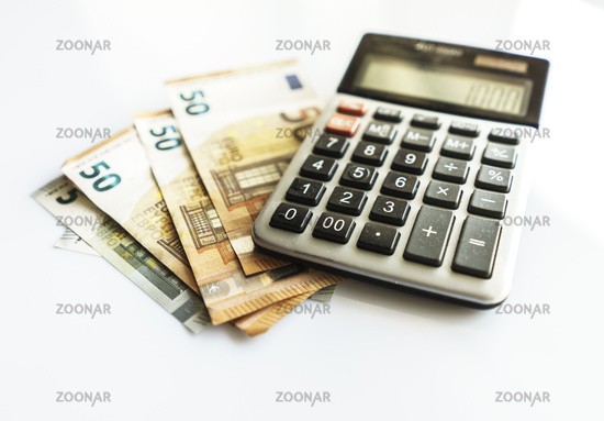 Banknotes and Calculator, Euro Banknotes on White Background