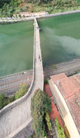Amazing aerial panoramic view of Devil's Bridge in Lucca, Italy. Ponte della Maddalena