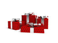 Gifts in a paper red label with a black bow 3d render on a white background with a shadow