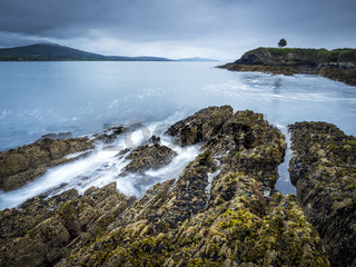 Rain and stormy weather at the coastline near bantry ireland