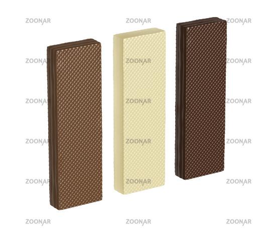 White, brown and dark chocolate wafers