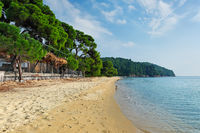 The beach Vromolimnos in Skiathos, Greece