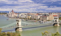 Panoramic view of Budapest with Parliament and Chain Bridge