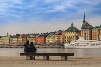 Stockholm Sweden, city skyline at Gamla Stan and Slussen with love couple