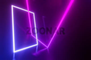 turquoise and pink neon lights frame background