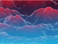 Abstract futuristic 3D mountains landscape on alien planet.