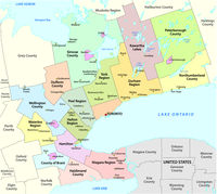 Map of the Golden Horseshoe metropolitan area around the western end of Lake Ontario Ontario Canada