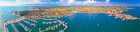 Adriatic coastline of Umag architecture aerial view