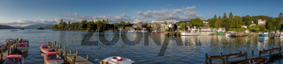 Bowness-on-Windermere panoramic harbor view in afternoon light, Lake District, Cumbria, UK