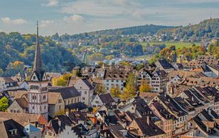 Altstadt Schaffhausen mit Münster Allerheiligen, Schweiz