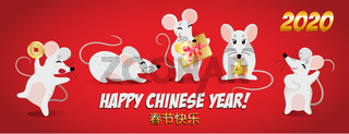 Year of the Rat 2020, Happy New Year on January 25th, Red banner with dancing rats and the inscription in Chinese - Happy Chinese New Year, vector illustration.