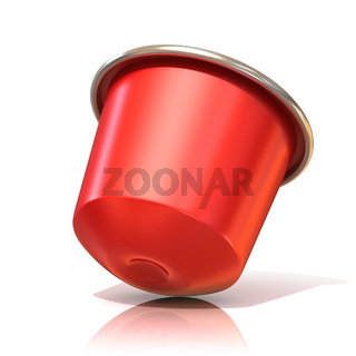 Red coffee capsule. 3D