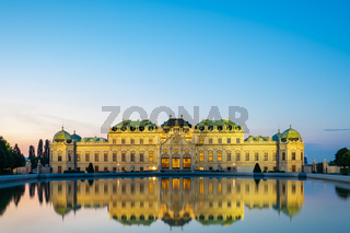 Belvedere Palace at night in Vienna city, Austria