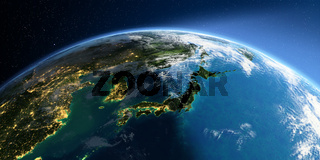 Detailed Earth. Part of Asia, Japan and Korea, Japanese sea