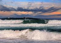 Evening sea storm scenery