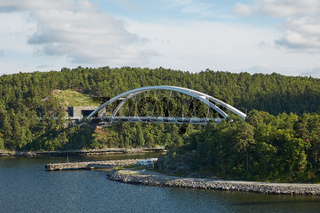 Bright day  and bridge in the Stockholm archipelago