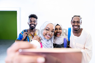 african students group taking a selfie