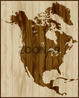 North America map on wood background