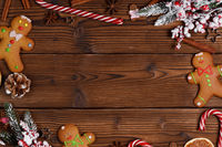 Christmas food on wood background