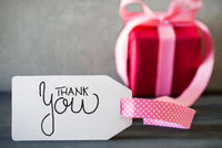 Pink Christmas Gift, Label With Calligraphy Thank You