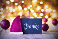 Sparkling Lights, Ball, Purple Santa Hat, Danke Means Thank You
