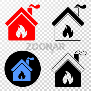 Kitchen Building Vector EPS Icon with Contour Version