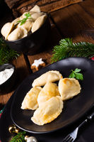 Polish Christmas pierogi with sauerkraut and mushrooms