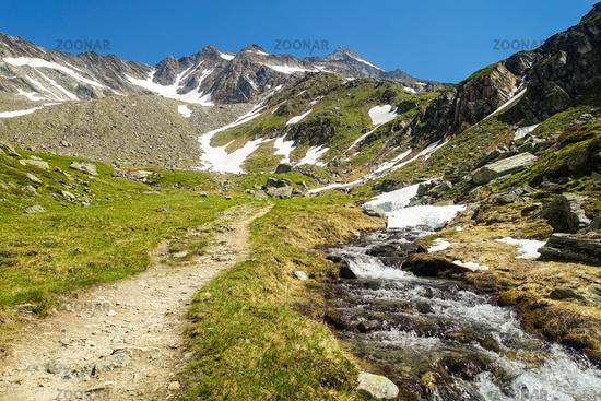 Wanderweg Richtung Lenkjöchlhütte mit Blick auf die Rötspitze, Ahrntal, Südtirol