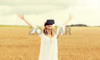 woman in virtual reality headset on cereal field
