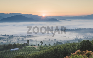 Pai  Thailand landscape with mist in the valleys at sunrise