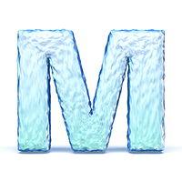 Ice crystal font letter M 3D