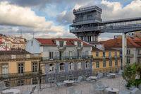 Der Santa Justa Fahrstuhl im historischen Zentrum, Lissabon, Portugal, Europa