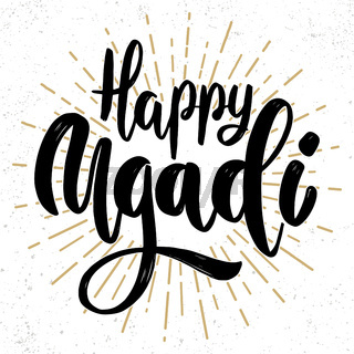 Happy Ugadi. Lettering phrase on grunge background. Design element for poster