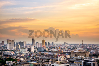 Downtown view on Bangkok cityscape from drone, capital of Thailand, sunset