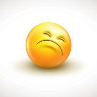 Cute curious emoticon, emoji - vector illustration