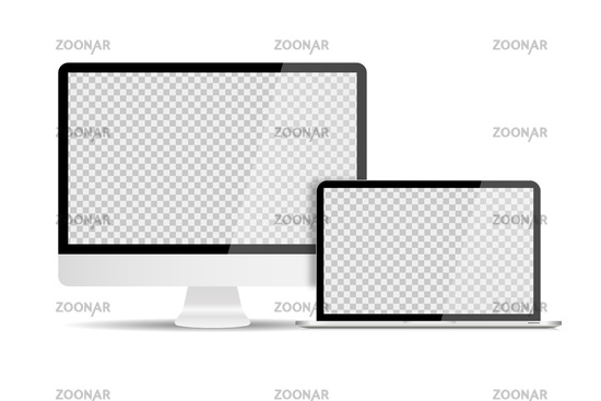 Personal computer with laptop in trendy realistic design with shadows. Set devices. Transparent screen mock up isolated.