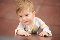 Portrait of adorable baby playing at playground