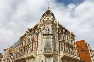 Beautiful old facade of a house in Cartagena in Spain.