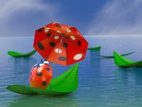 Ladybug with umbrella