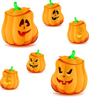 Set of halloween pumpkins with variations of illumination, part 17