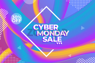 Cyber Monday sale colorful advertising poster or banner template
