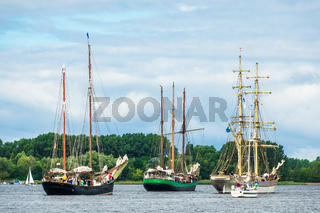 Segelschiffe auf der Hansesail in Rostock