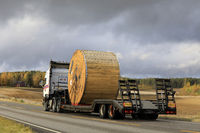 Truck Transports Large Cable Reel