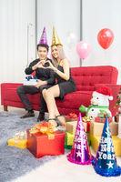 couple celebrate new year portrait